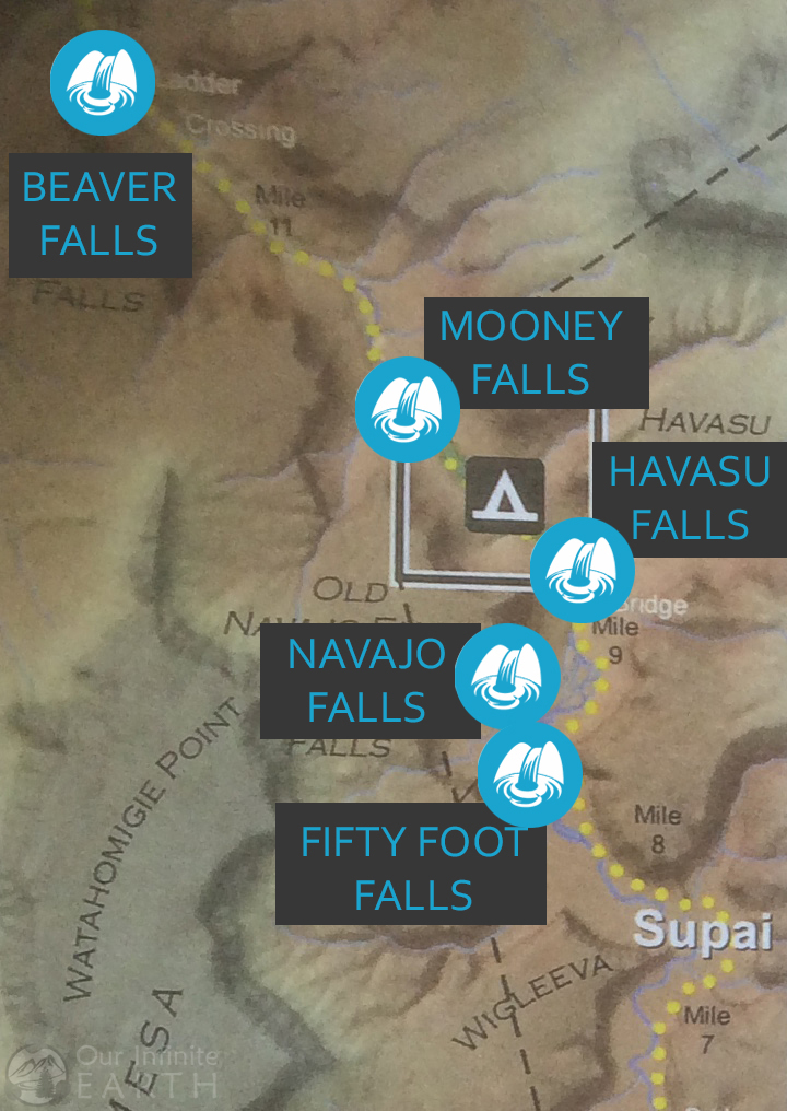 havasupai waterfall map