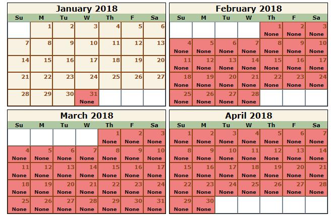 The Wave calendar