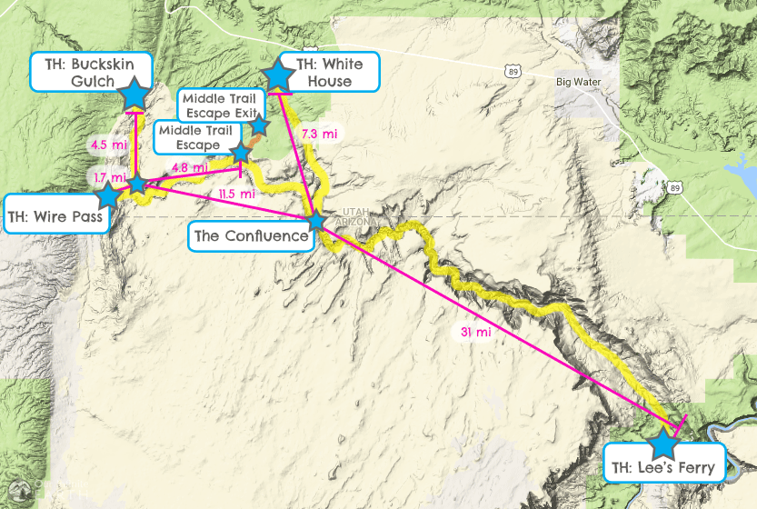 buckskin-gulch-paria-canyon-backpacking-map-distances
