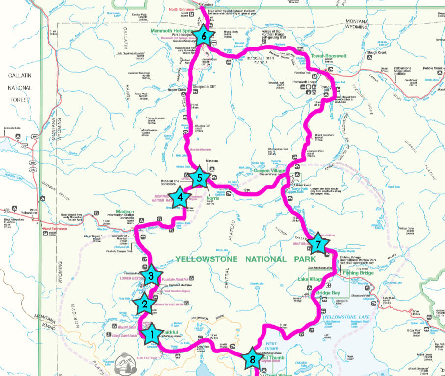 Must See Yellowstone Geysers & Hot Springs Mapped ... Map Of West Thumb Geyser Basin on map of grand prismatic spring, map of yellowstone geysers, map of mud volcano, map of firehole canyon drive, map of mystic falls, map of yellowstone national park, map of old faithful area, map of yellowstone river,