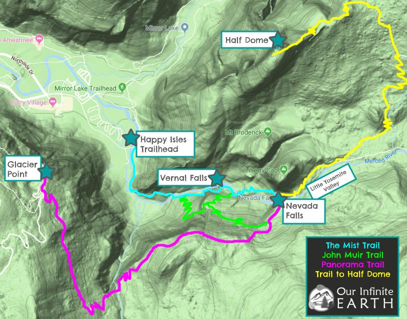 half-dome-hike-trail-map